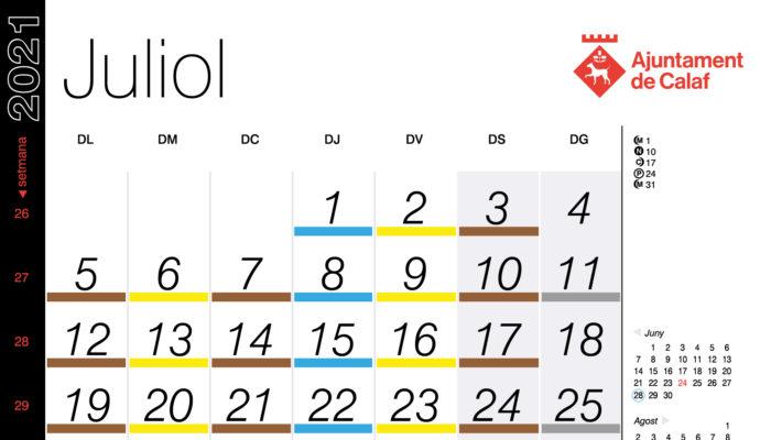 Calendari recollida porta a porta – Juliol 2021