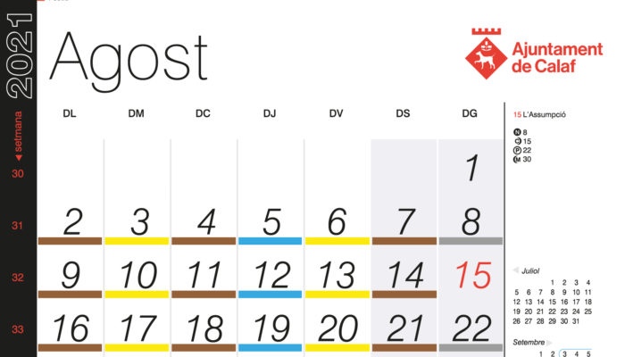 Calendari recollida porta a porta – Agost 2021