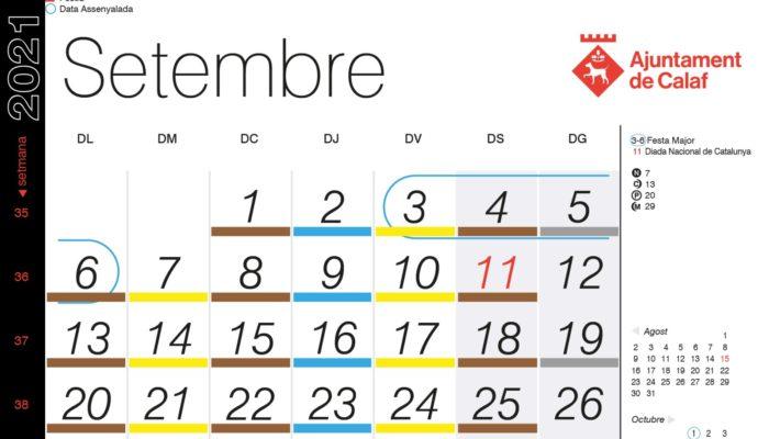 Calendari recollida porta a porta – Setembre 2021