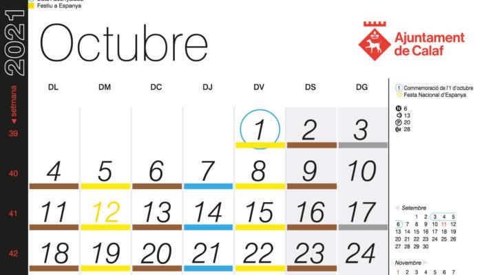 Calendari recollida porta a porta – Octubre 2021